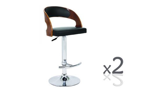 ROME   GASLIFT BAR STOOL - SEAT: 900-1200(H) - (SET OF 2) -  BLACK