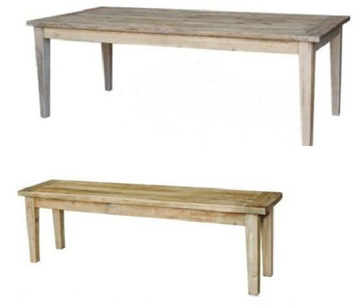 STAMFORD  3 PIECE DINING SETTING WITH 2 BENCHES  - TABLE -1500(L) x 900(W) - NATURAL