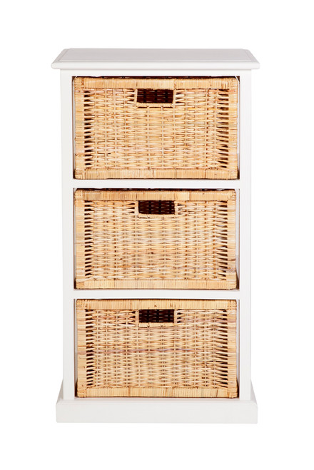 BALINESE CANE STORAGE DRAWERS (DET703 WH) WITH 3 DRAWERS -  WHITE