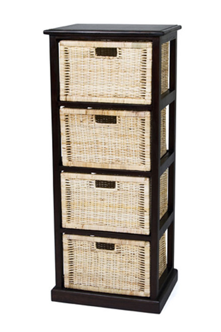 BALINESE TALL CANE STORAGE DRAWERS (DET704) WITH 4 DRAWERS - CHOCOLATE OR WHITE