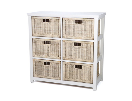 BALINESE VERTICAL CANE STORAGE DRAWERS (DET706/V) WITH 6 DRAWERS - WHITE