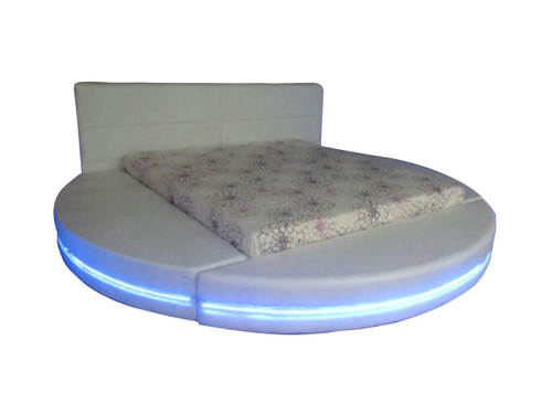 KING BENNY ROUND LEATHERETTE BED WITH LED LIGHT & REMOTE CONTROL (CD010) - ASSORTED COLORS
