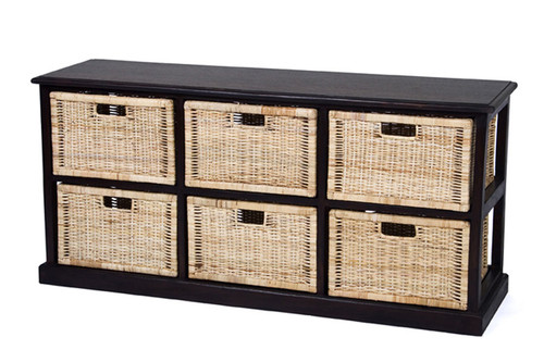 BALINESE LOWLINE CANE STORAGE DRAWERS (DET706/H) WITH 6 DRAWERS - CHOCOLATE OR WHITE
