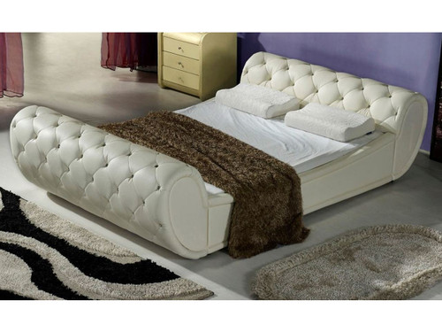 KING BARTEL  LEATHERETTE BED WITH CRSYTAL OR LEATHER BUTTONS (CD028) - ASSORTED COLORS