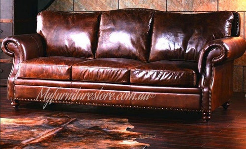 GRAFTON  3S + 2S +1S   FULL LEATHER VINTAGE LOUNGE SUITE