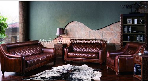 CAMPBELLA  3S + 2S +1S   FULL LEATHER VINTAGE LOUNGE SUITE  - ASSORTED COLOURS