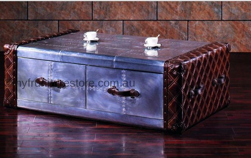 JAIMEN  2 DRAWERS GENUINE LEATHER + ALUMINIUM COFFEE TABLE -  1390(W) X 880(D) - ASSORTED COLOUR