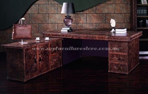 EXECUTIVE FULL LEATHER OFFICE TABLE  WITH RETURN - ASSORTED COLOURS