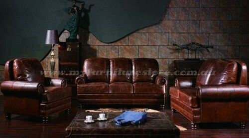 GENESIS  3S + 2S +1S  VINTAGE  FULL LEATHER  LOUNGE SUITE - ASSORTED COLOURS  AVAILABLE