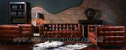 EASTMONDE   3S + 2S +1S  VINTAGE FULL LEATHER LOUNGE SUITE - ASSORTED COLOURS