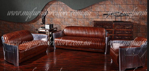 CLARIMONCE  3S + 2S +1S  AVIATOR FULL LEATHER + ALUMINIUM LOUNGE SUITE - ASSORTED COLOURS