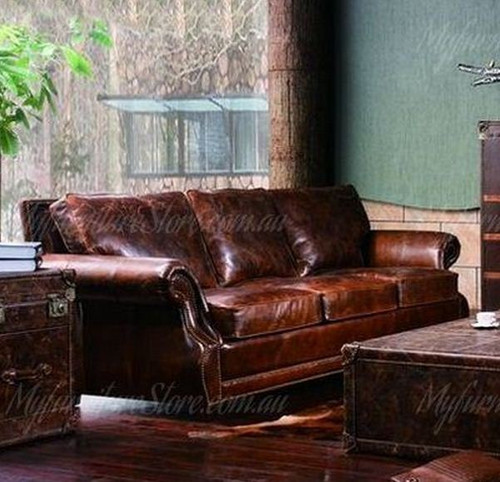 SHALOM   3 SEATERS   FULL LEATHER VINTAGE SOFA  -ASSORTED COLOURS