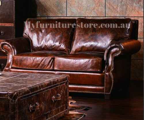SHALOM  2 SEATER   FULL LEATHER VINTAGE SOFA  -ASSORTED COLOURS