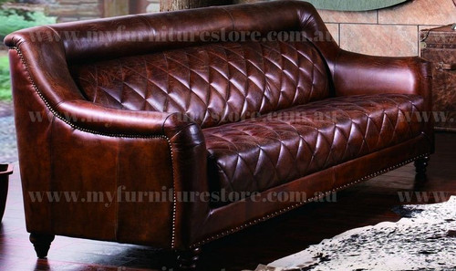 CAMPBELLA  3 SEATER   FULL LEATHER VINTAGE SOFA  - ASSORTED COLOURS
