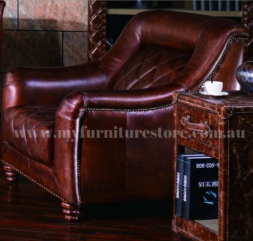 CAMPBELLA  SINGLE SEATER   FULL LEATHER VINTAGE SOFA CHAIR  - ASSORTED COLOURS