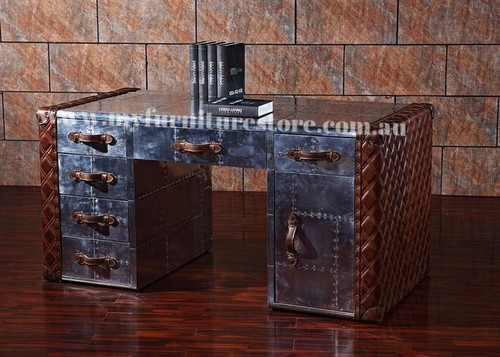 PROMINA EXECUTIVE FULL LEATHER  + ALUMINIUM TABLE  WITH  1 DOOR & 6 DRAWERS  -  1620(W) X 850(D) -ASSORTED COLOURS