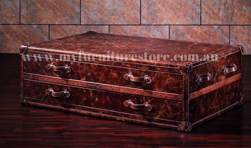FABRANO FULL LEATHER COFFEE TABLE   WITH DRAWERS  -   1450(W) x 910(D) - ASSORTED COLOURS