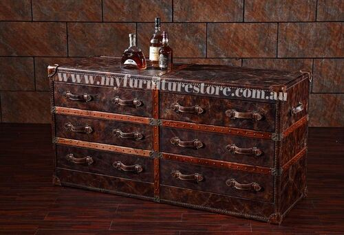 BESTABELA FULL LEATHER CHEST WITH 6 DRAWERS  -  850(H) X 1730(W) - ASSORTED COLOURS