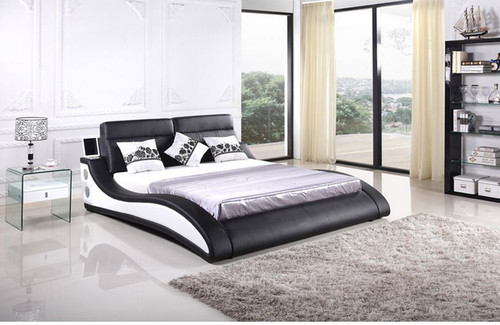 QUEEN LADEN LEATHERETTE BED -  IPHONE 5/6 SUPPORT / BLUETOOTH (CD022) - ASSORTED COLORS