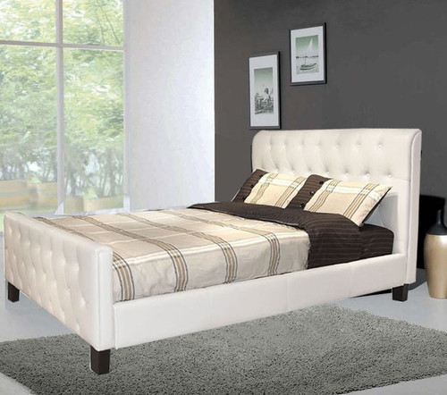 KING  CHITZ  LEATHERETTE BED (CD029) WITH LEATHER OR CRYSTAL BUTTONS - ASSORTED COLORS AVAILABLE