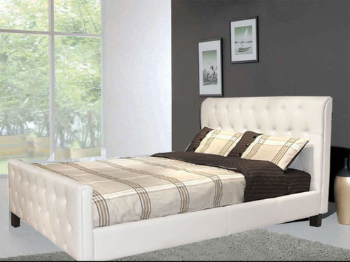 QUEEN CHITZ LEATHERETTE  BUTTONED   BED  (CD029) - ASSORTED COLORS AVAILABLE