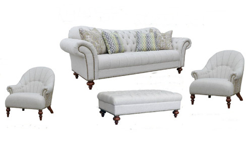 HAMAN  3S + 1 +1 + OTTOMAN  FABRIC LOUNGE SUITE - (MODEL - 12-15-21-9-19-91-14-1) AS PICTURED
