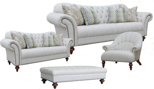 HAMAN   3S + 2S  + ARM CHAIR + OTTOMAN FABRIC LOUNGE SUITE- (MODEL - 12-15-21-9-19-91-14-1) AS PICTURED