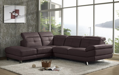 MILAN (V-1124-L-B) 3 SEATER LEATHER LOUNGE WITH LEFT CORNER - BROWN