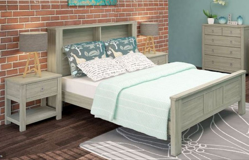 BEACHROAD QUEEN  4 PIECE  BOOKEND TALLBOY  BEDROOMSUITE (VBC-001) - SEASIDE