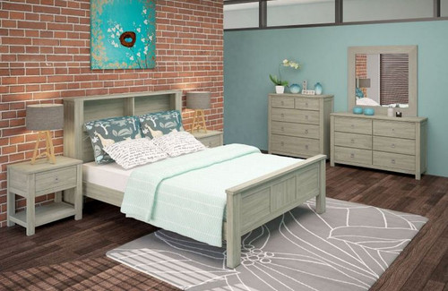 BEACHROAD QUEEN  5 PIECE  BOOKEND DRESSER  BEDROOM SUITE (VBC-001) - SEASIDE