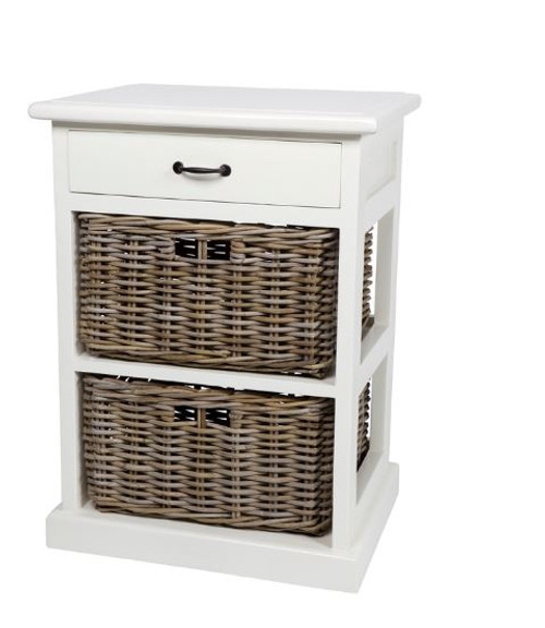 RATTAN STORAGE WITH 2 DRAWERS (DRT782) - WHITE / NATURAL