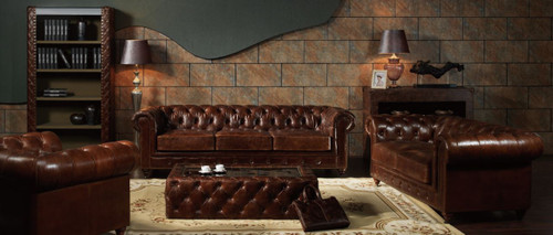 BONJOUR SAMAR  3S + 2S   VINTAGE FULL LEATHER LOUNGE SUITE (EXCLUDING COFFEE TABLE) - ASSORTED COLOUR