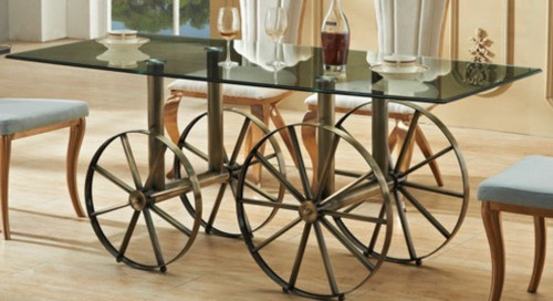 BOSS GLASS DINING TABLE 1800(L) X 900(W) -  (MODEL-3-15-1-3-8) - AS PICTURED