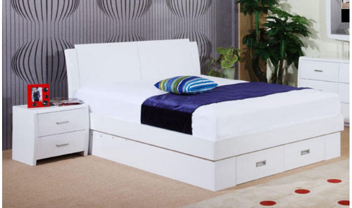 DOUBLE MELINDA BED WITH GAS LIFT (MODEL 13-15-19-13-1-14)  - HIGH GLOSS WHITE