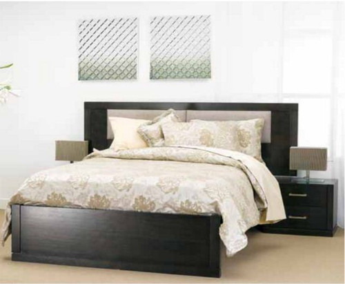 QUEEN LANDON BED WITH FABRIC INSERTS (22-15-7-21-5) - SMOKE WITH BEIGE FABRIC INSERTS