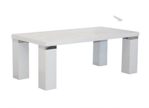 WAVERLEY COFFEE TABLE WITH CHUNKY LEGS & CHROME TRIM - 1200(W) X 600(D) - HIGH GLOSS WHITE