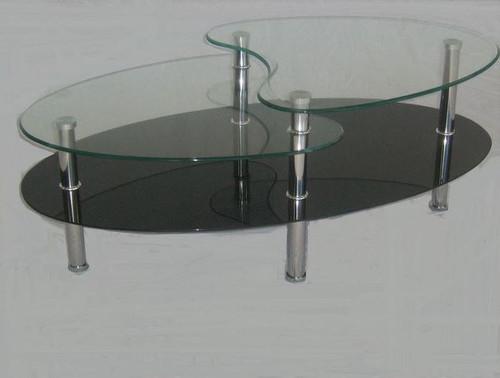 BENJI  GLASS COFFEE TABLE -   1100(W) X 600(D) -CLEAR / BLACK GLASS OR CLEAR / SANDBLAST