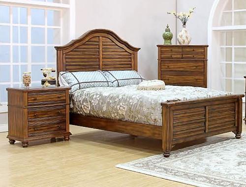 JORDAN  QUEEN  4 PIECE  TALLBOY   BEDROOM SUITE (MODEL - 8212) - BROWN