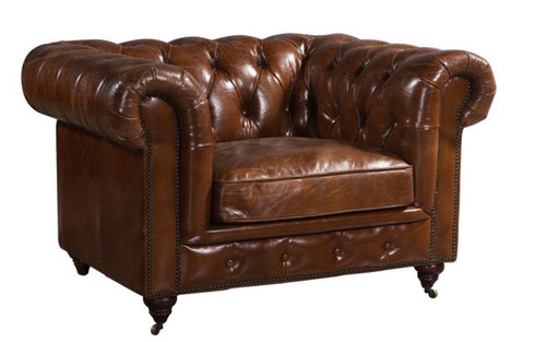 CHESTER  SINGLE SEATER LEATHER SOFA (MODEL - AD3009-)  BROWN