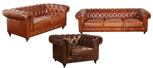 CHESTER  3S + 2S  + SINGLE SEATER  LEATHER LOUNGE SUITE - BROWN