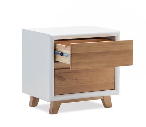 PARKER 2 DRAWER BEDSIDE TABLE (1-18-9-5-12-12-5) - NATURAL / WHITE