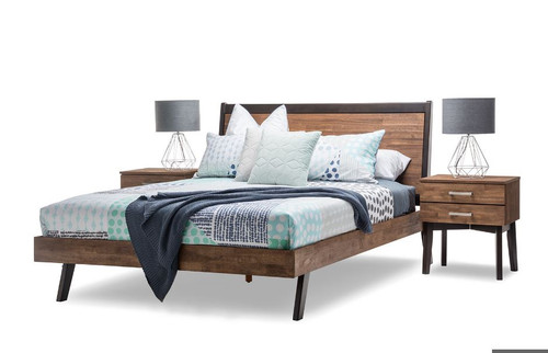 DOUBLE MARTINEZ BED (19-5-12-5-14-1 ) - CARAMEL & BROWN