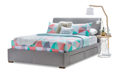QUEEN  FRANKSTON FABRIC BED WITH 4  UNDERBED STORAGE DRAWERS (19-5-1-20-20-12-5) - CEMENT GREY
