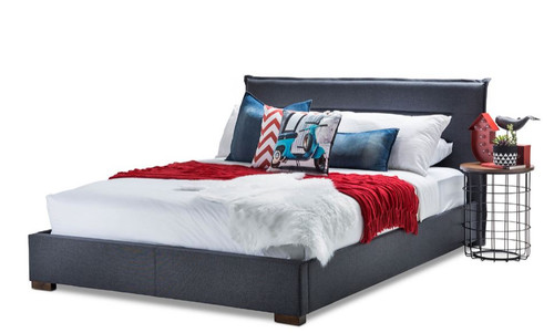 QUEEN  CLEMENTINE  FABRIC BED  (8-15-18-9-26-15-14) - DENIM GREY