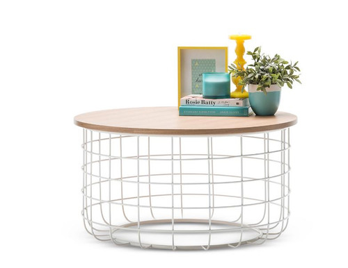 GABRIELA ROUND COFFEE TABLE  - 800(Ø)- LIGHT OAK  / WHITE