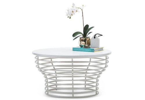 LUCIANO  ROUND COFFEE TABLE  -  800(Ø)- WHITE