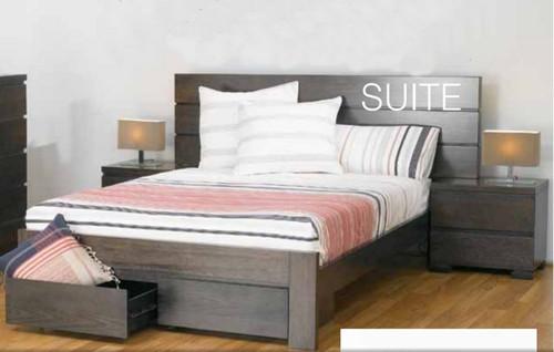 BENSON QUEEN 3 PIECE BEDSIDE  BEDROOM SUITE WITH 2 FOOTEND DRAWERS - SMOKE