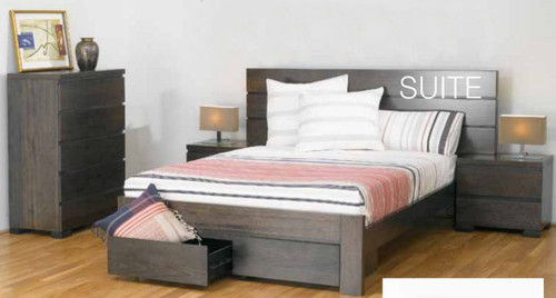 BENSON QUEEN 4 PIECE TALLBOY  BEDROOM SUITE WITH 2 FOOTEND DRAWERS - SMOKE