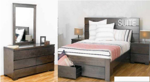 BENSON QUEEN  6 PIECE (THE LOT)  BEDROOM SUITE WITH 2 FOOTEND DRAWERS - SMOKE