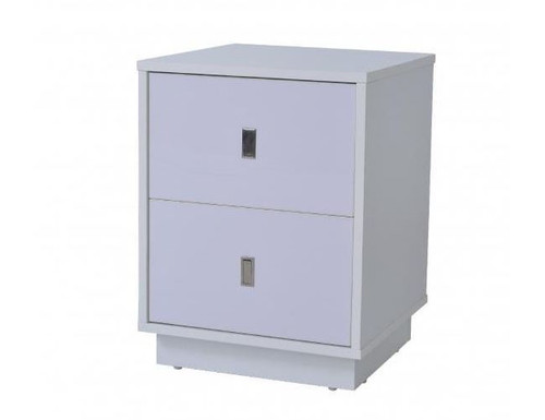 EMMA 2   DRAWERS  BEDSIDE TABLE  - GLOSS WHITE